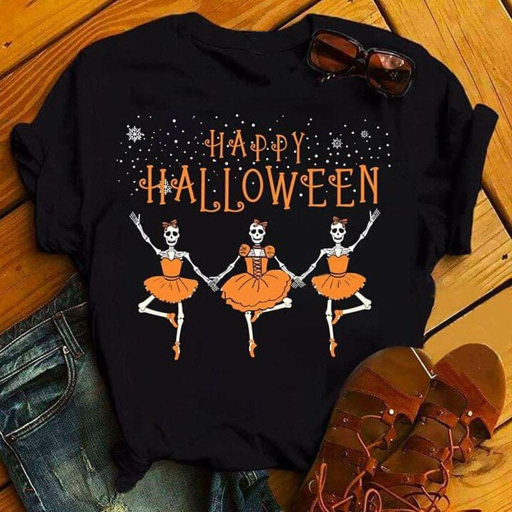 Womens Casual Tops Plus Size Halloween Letter Print Round Neck Solid Color Short Sleeve Blouse