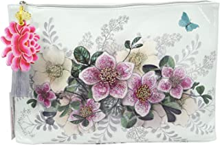 Papaya Art Christmas Rose Hellebore Floral Oil Cloth Large Make-up or Accessory Travel Bag