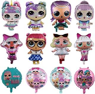 LOL Party's Balloons, 12 Pack Girls Birthday Doll Balloons Decorations For Children's Party Supplies