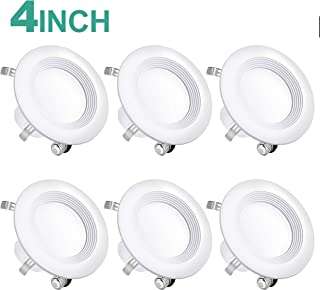 6 Pack 4 Inch Baffle Recessed Retrofit Lights, Ceiling Recessed Lighting Downlight, 4000K (Cool White) Dimmable Led Can Lights, CRI 90, UL and Energy Star Certified