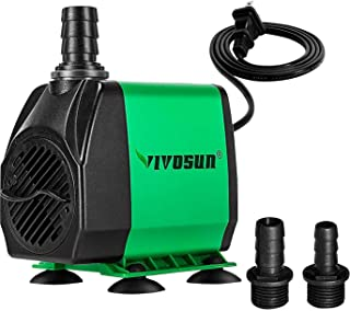 VIVOSUN 800GPH Submersible Pump(3000L/H, 24W), Ultra Quiet Water Pump with 10ft High Lift, Fountain Pump with 5ft Power Co...
