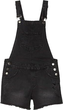 Destructed Denim Overall in Charred Black (Big Kids)