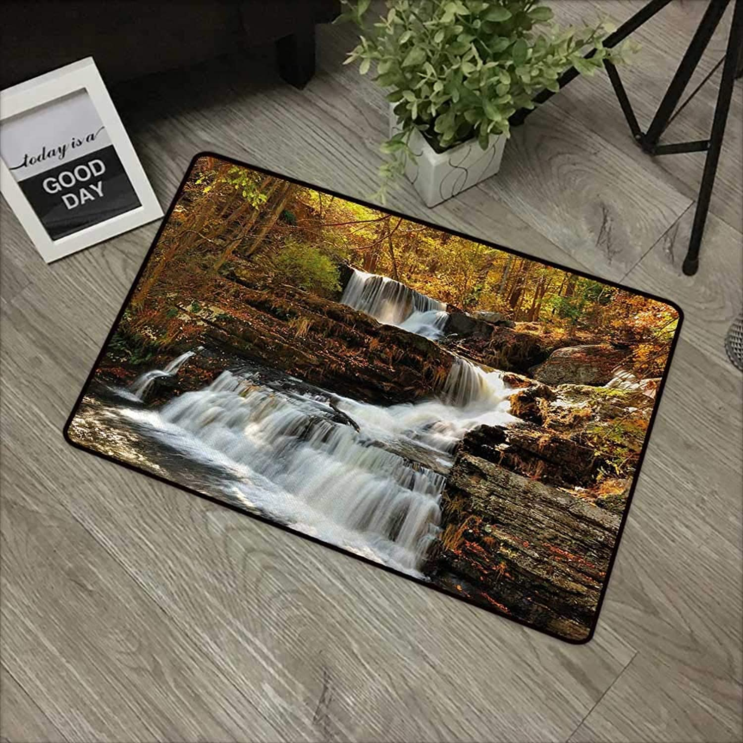 Square Door mat W35 x L59 INCH United States,Upper Falls at Delaware Water Gap Autumn Nature Forest Scenery Cascade,Brown Green White Easy to Clean, no Deformation, no Fading Non-Slip Door Mat Carpet