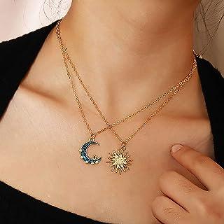 Clenp Collares De Mujer, Collar De Sol Y Luna Vintage De 2 Capas para Mujer, Accesorio De Joyería con Colgante De Diamante...