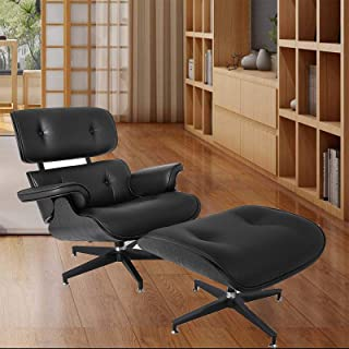 Mophorn Lounge Chair with Ottoman Mid Century Modern Replica Style Recliner Chair High Grade All Black PU Leather Recliner Armchair with Foot Stool Footrest Living Room Furniture Set (All Black)