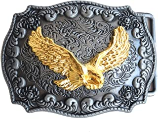 Golden Eagle Belt Buckle Handmade Rectangle Frame Western Belt Buckle