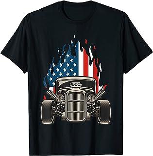 Drapeau américain vintage Hot Rodder Veteran Memorial Day 4 juillet T-Shirt