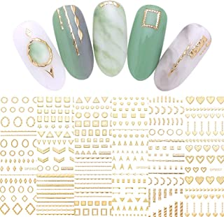 LEMOOC Gold 3D Nail Sticker Valentine's Day Decoration Lines Multi-size Strip Geometric Heart Nail Art Adhesive Transfer Stickers