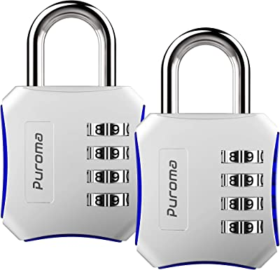 Puroma 2 Pack Combination Locks 4 Digit Padlock for School Gym Locker, Sports Locker, Fence, Toolbox, Case, Hasp Storage (Silver)