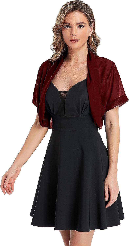 Women's Short Chiffon Sleeve Shawl Wraps Cardigan Capes Bolero Shrug for Wedding Evening Dress
