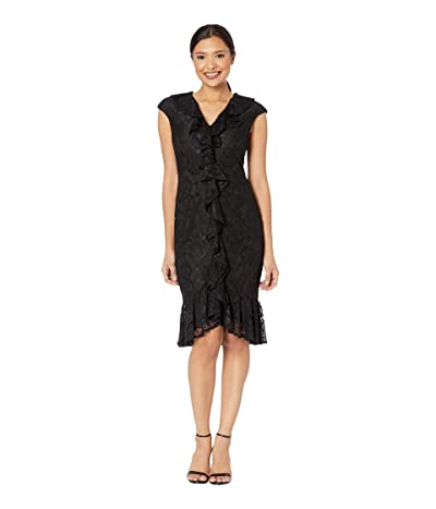 Maggy London Scattered Rose Lace Sheath Dress with Cap Sleeve and Cascade Front Ruffle (Black) Women