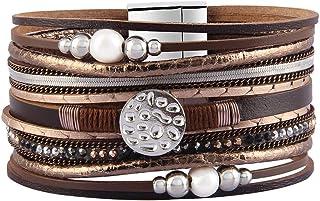 GelConnie Women Leather Wrap Bracelet Multilayer Braided Bracelet Boho Cuff Bracelet Bohemian Jewelry for Wife, Sister, Daughter