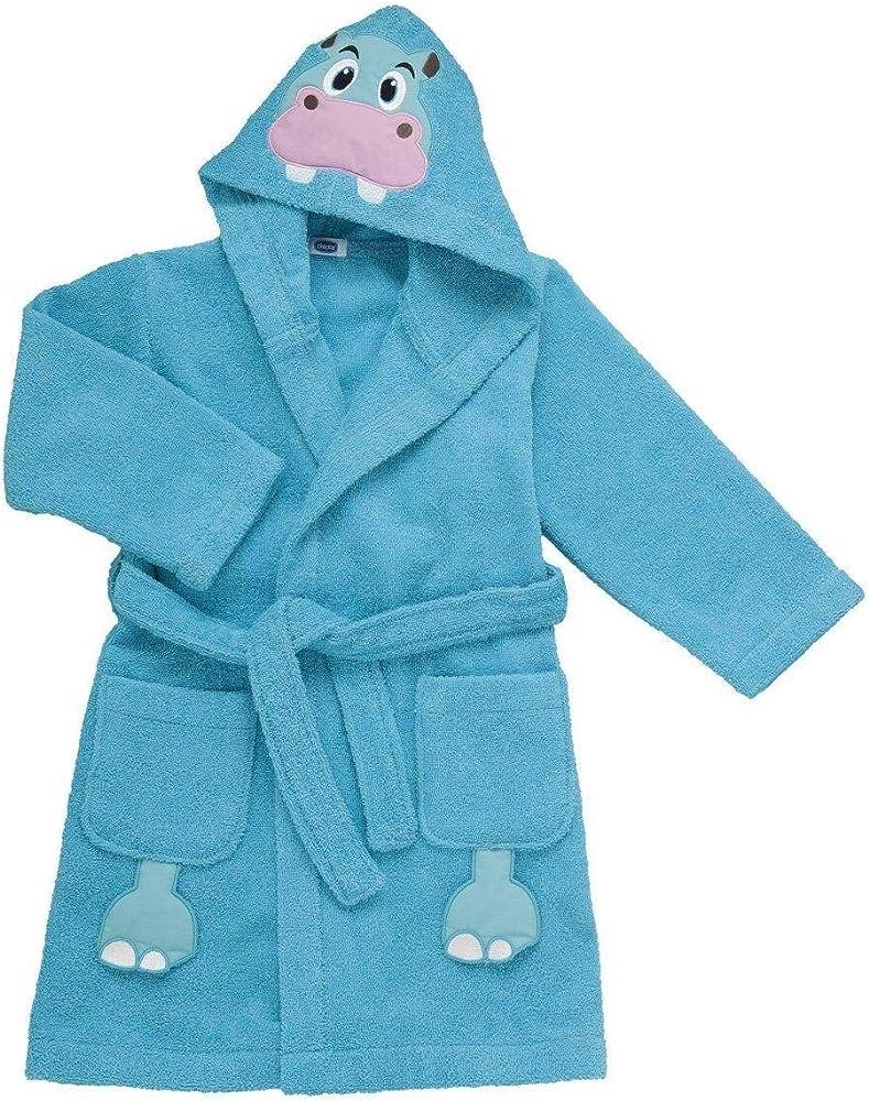 Chicco. accappatoio ippopotamo per bambino,100 % cotone,accappatoio con cappuccio in morbida spugna 00004899000000