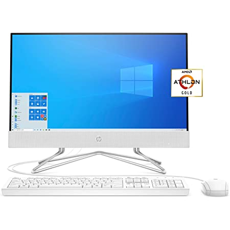 HP 22 All-in-One PC, AMD Athlon Gold 3150U Processor, 4 GB RAM, 256 GB SSD, Full HD IPS 21.5-inch Anti-Glare Display, Windows 10 Home, USB Mouse and Keyboard (22-df0022, 2020)