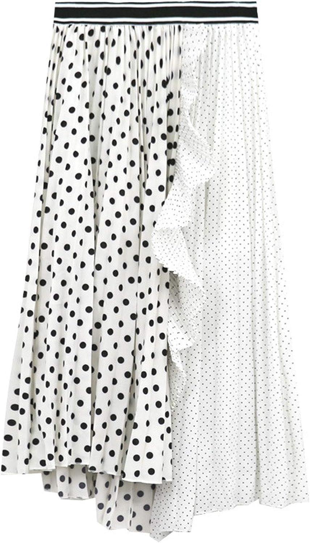 CHARTOU Women's Stylish Chiffon Polka Dot Patchwork Pleated Midi Flowy A-line Skirt