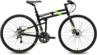 Montague FIT Folding 700c Pavement Hybrid Bike 30-speed road bike with disc brakes and a carbon fork, Gloss Black/Green 21