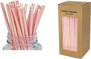 Twinkling Rainbow Pink Foil Paper Straws - Box of 250 Shiny Cake Pop Sticks for Birthday, Wedding, Bachelorette Party DIY