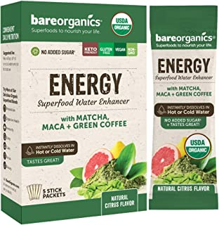 BareOrganics On-The-Go Energy Superfood Water Enhancer — Organic Drink Mix, 5 Count