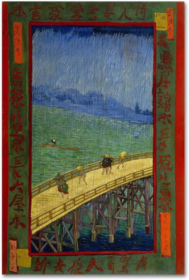 Ranking integrated Very popular! 1st place Bridge In The Rain After Hiroshige 22x32-Inch by Van Gogh Canva