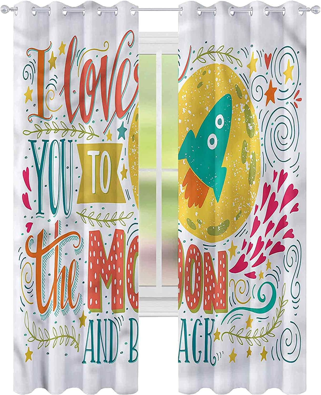 Window Curtain Drape Quote Romantic I Love Space W52 B Popular brand Max 52% OFF x L84 You