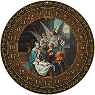 CB Round Nativity 2018 Advent Hanging Calendar Countdown to Christmas Home Decoration for Children 13.75 Inch Dia with Holy Family and Nativity Scene Illustration in The Center