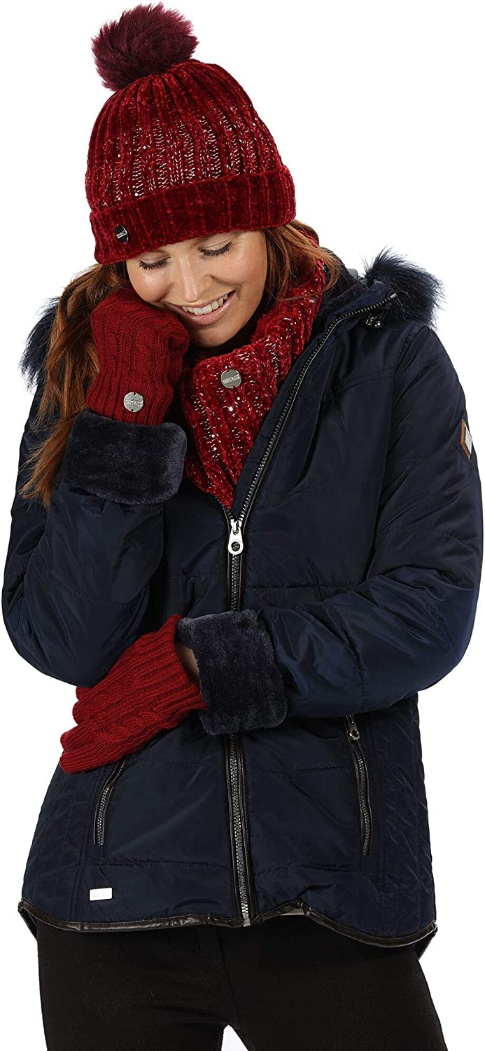 Regatta Damen Whitley Water Repellent & Thermo-guard Insulated Faux Fur Hooded Winter Jacket Steppjacken Navy