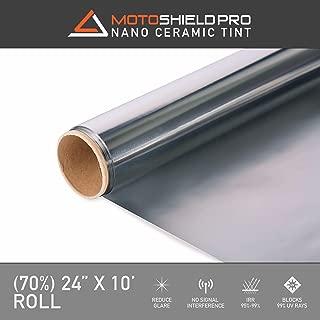 MotoShield Pro Ceramic Tint Film [Blocks Up to 99% of UV/IRR Rays] 24 Inches x 10 Feet - Window Tint Film Roll (70%)