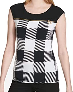CALVIN KLEIN Women's Printed Zip-detail Blouse Shirt Top