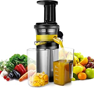 Slow Masticating Juicer with Slow Press Masticating Squeezer Technology for Fruits, Vegetables and Herbs, Slow Juicer with Compact Design and easy to clean, 150 Watt