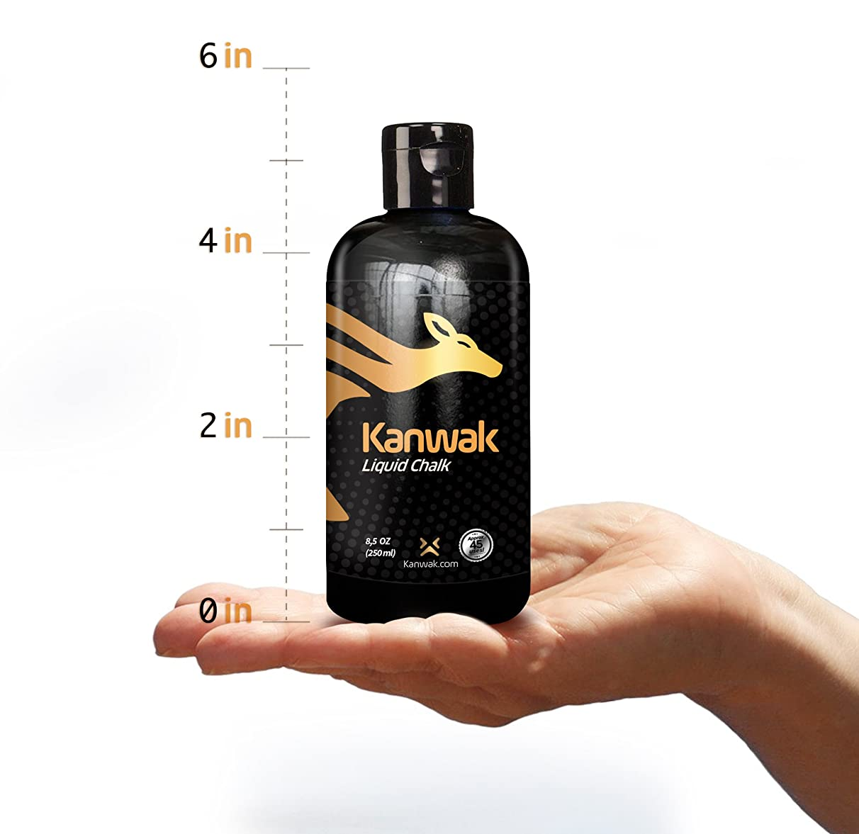 Kanwak Liquid Chalk Grip Hand Grip for Gym, Weightlifting, Climbing, Bouldering, Calisthenics, Gymnastics, Gym - Dries in Seconds - Dust Free and No Mess - Portable and Compact Chalk in a Bottle of 50/250 ml