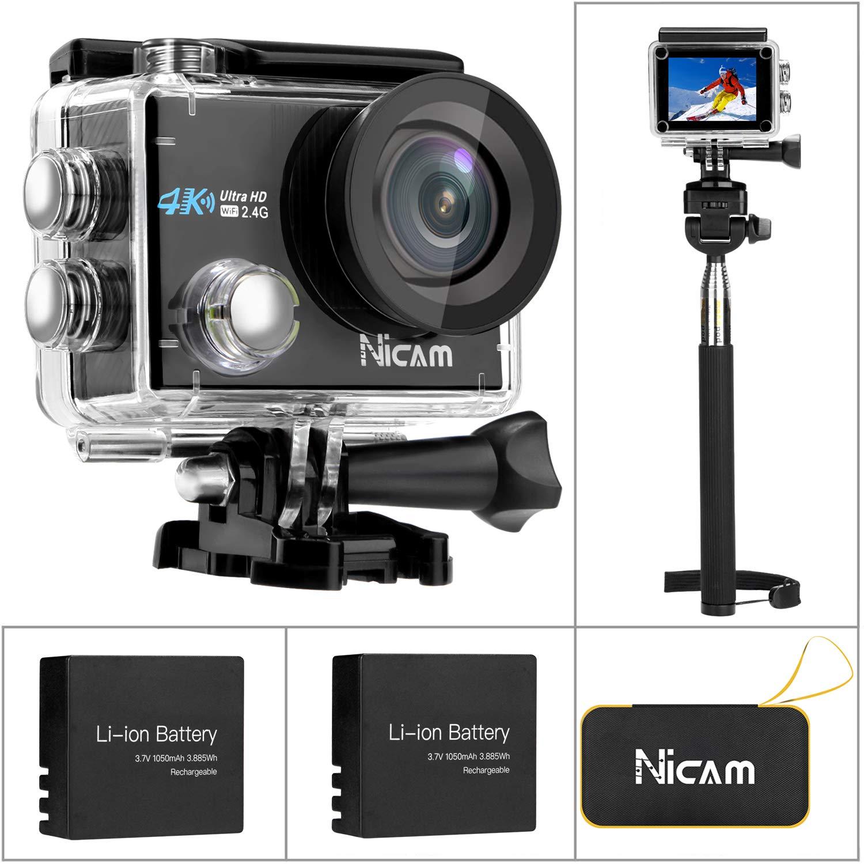 Nicam WiFiモーションカメラ、4K 12MP Ultra HD防水DVカメラ、2 x 1050 mAhバッテリー付き170度広角、Selfie Stick、ポータブルキャリングケース