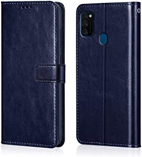 WOW Imagine Galaxy M30s Flip Case Leather Finish   Inside TPU with Card Pockets   Wallet Stand   Shock Proof   Magnetic Closure   360 Degree Complete Protection Flip Cover for Galaxy M30s - Blue