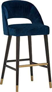 """Amazon Brand � Rivet Whit Contemporary Upholstered Bar Stool with Gold Accents, 41""""H, Navy Velvet"""