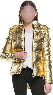 be-my-guest Women Winter Jackets Short Warm Coat Gold Metal Color Ladies Parka