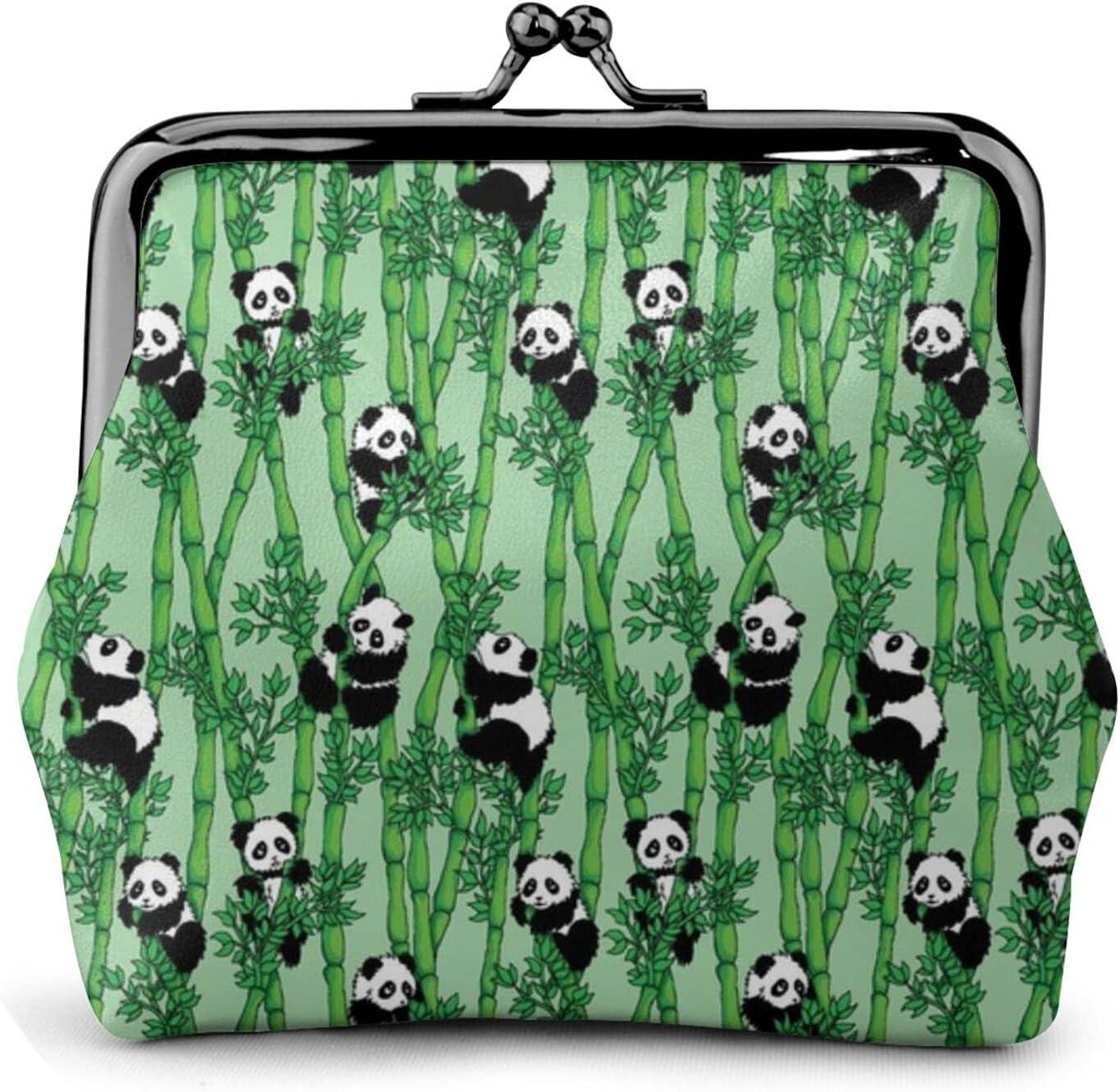 Bamboo Panda 243 Women'S Wallet Buckle Coin Purses Pouch Kiss-lock Change Travel Makeup Wallets, Black, One Size