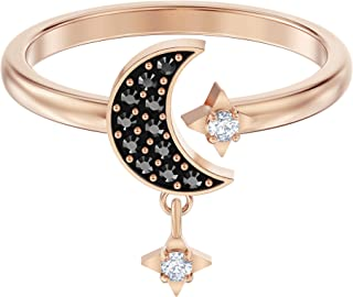 SWAROVSKI Women's Symbolic Moon Ring Collection, Rose Gold Finish, Black Crystals, Clear Crystals