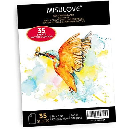 MISULOVE Watercolor Paper Pad, 9x12 Inch, 35 White Sheets (140lb/300gsm), Glue Bound, Cold Pressed Art Sketchbook Pad for Painting & Drawing & Watercolor Paint and Watercolor Pencils, Wet, Mixed Media