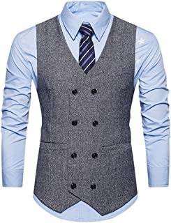 Nevera Handsome Men Formal Jacket Tweed Check Double Breasted Waistcoat Retro Slim Fit Suit