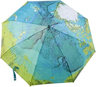 World Map Umbrella Automatic Folding Reinforced Windproof UV-coating 3 Fold with Bag Travel Umbrella Fordable & Portable Parasol with Ultra Comfort Handle (Blue)