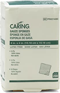 Medline PRM21408CZ Caring Woven Non-Sterile 4x4 Gauze Sponges, 8-ply (Pack of 200)