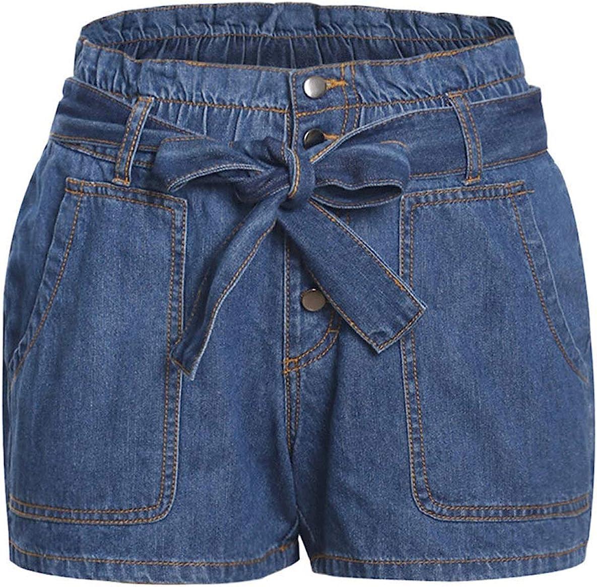 chouyatou Women's Casual Paper Bag Tie Waist Sewn Cuffed Summer Denim Jean Shorts