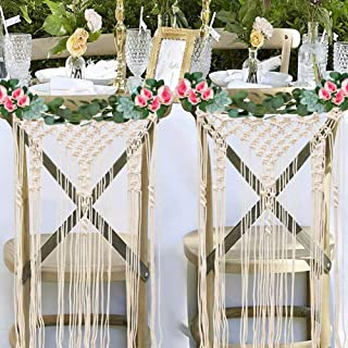 OurWarm Bohemian Bride and Groom Chair Decorations, Macrame Woven Wall Hanging Boho Home Decoration, Wedding Chair Back Decor, Set of 2