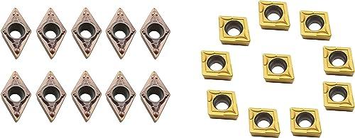 wholesale ASZLBYM lowest 10PCS DCMT21.51 / DCMT070204 10PCS CCMT21.51 / CCMT060204 Carbide new arrival Turning Inserts CNC Lathe Inserts for Metal Lathe Turning Tool Holder Replacement Insert outlet sale