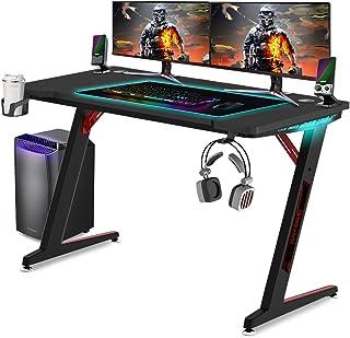 Huracan LED Gaming Tisch Ergonomisch Schreibtisch Groß Computertisch mit RGB Beleuchtung Getränkehalter und Kopfhörerhalte...