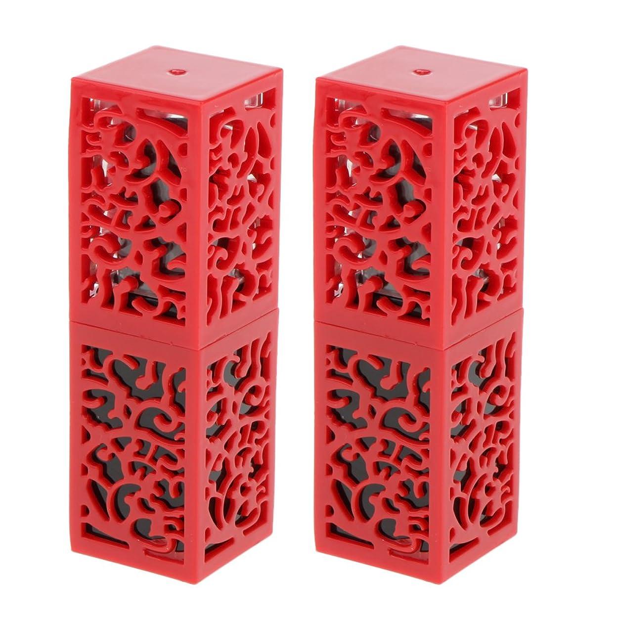 悪行くつろぎPerfk 2個入 口紅チューブ リップスティックチューブ 内径1.21cm 金型 コスメ 化粧品 DIY 全2色 - 赤