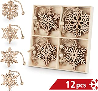 ilauke Wooden Snowflakes 3 inch Christmas Ornaments Wood Hanging Decorations Rustic Tree Crafting, Pack of 12