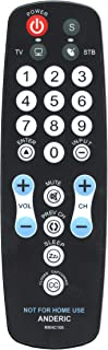 Anderic Universal TV Remote Control - Bulk Pricing Available - 1-Device - TV Only - Great for Seniors/Hospitality/Hotels/Motels - Clean Wipeable Membrane Surface - RRH100