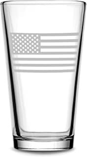 Integrity Bottles Premium American Flag Pint Glass, Made in USA, Hand Etched 15.3 oz Patriotic Drinking Glasses, Old Glory Beer Glass Gifts, Sand Carved