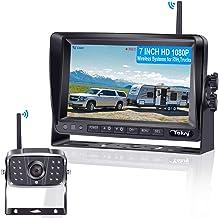 دوربین پشتیبان دیجیتالی FHD 1080P بی سیم برای RVs / Trailers / Trucks / Wheel Wheel پنجره / قایق عقب / دوربین نمای جلوی 7'Monitor با راهنمای سیستم مانیتورینگ بزرگراه DVR سیستم خطوط روشن / خاموش
