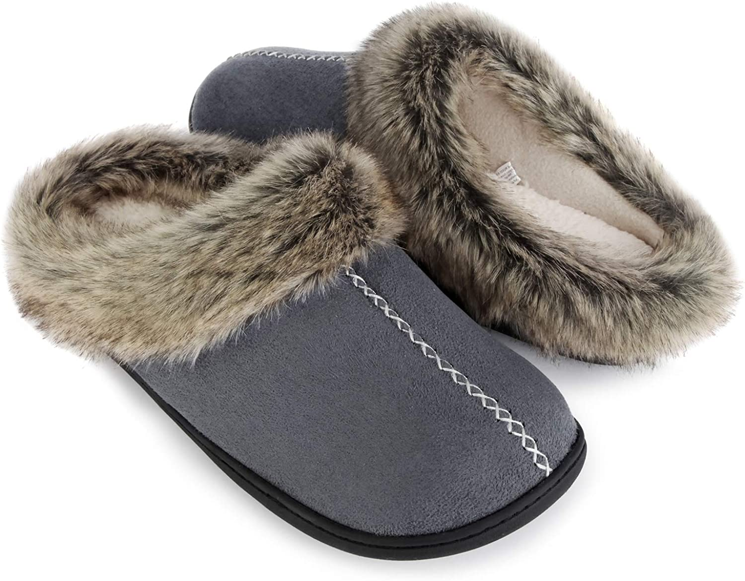 Casual Micro Suede Slip on Clog Mule House Shoes with Indoor Outdoor Anti-Skid Hard Rubber Sole ULTRAIDEAS Mens Cozy Memory Foam Slippers with Warm Fleece Lining and Fuzzy Faux Fur Collar